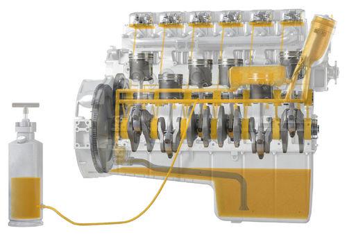 Заполнение отремонтированных двигателей маслом под давлением